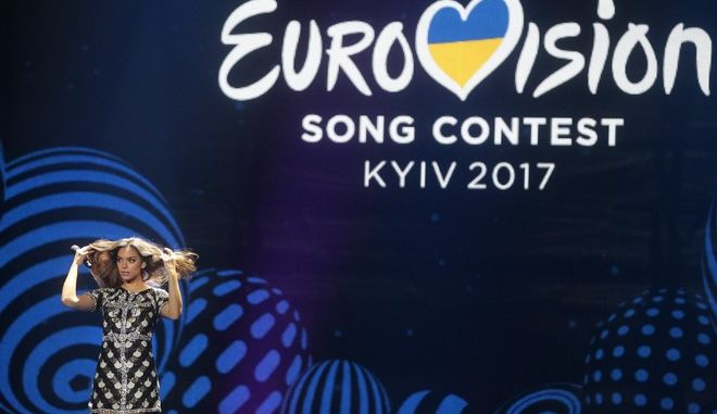 """Alma from France perform the song """"Requiem"""" during rehearsals for the Eurovision Song Contest, in Kiev, Ukraine, Wednesday, May 10, 2017. The final of The Eurovision Song Contest 2017 will be held on May 13. (AP Photo/Efrem Lukatsky)"""