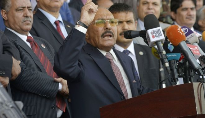 Former Yemeni President Ali Abdullah Saleh speaks during a ceremony to celebrate the 35th anniversary of the founding of the Popular Conference Party, in Sanaa, Yemen, Thursday, Aug. 24, 2017. Hundreds of thousands of Yemenis have rallied in Sanaa in a public show of support for the former president amid rising tension between his loyalists and Shiite Houthi rebels, components of the rebel alliance fighting a Saudi-led coalition in the country. (AP Photo/Hani Mohammed)