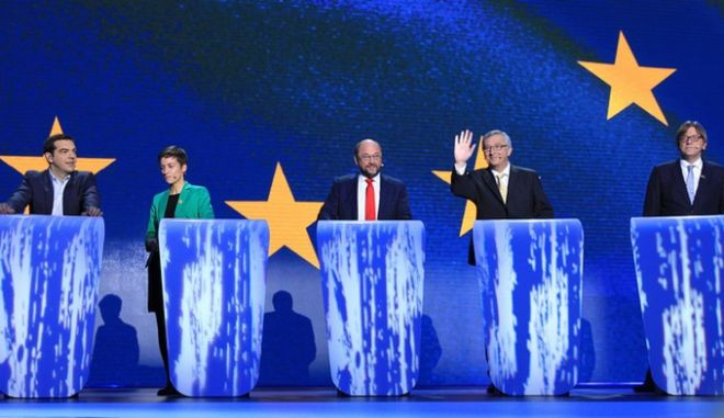 From left, Alexis Tsipras from Greece, Denmark's Ska Keller,  Germany's Martin Schulz,Luxembourg's Jean-Claude Juncker, and Belgium's Guy Verhofstadt hold a televised debate as the 5 candidates campaigning to be next President of the European Commission at the European Parliament in Brussels, Thursday, May 15, 2014. Elections for the 751-seat Parliament will take place across the 28-nation EU on May 22-25. (AP Photo/Yves Logghe)