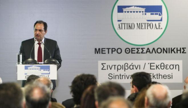 O Χρήστος Σπίρτζης στον πρώτο ολοκληρωμένο σταθμό του Μετρό της Θεσσαλονίκης, Συντριβάνι