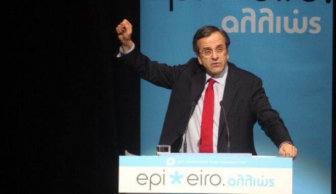 Ομιλία του πρωθυπουργού Αντώνη Σαμαρά σε εκδήλωση της ΟΝΝΕΔ στο Ιδρυμα Μιχάλης Κακογιάννης, με θέμα «παρουσίαση 40 προτάσεων για την επιχειρηματικότητα», την Τρίτη 20 Νοπεμβρίου 2012. (EUROKINISSI)