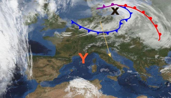 Δορυφορική εικόνα την Πέμπτη 21/2 στις 12:00 το μεσημέρι