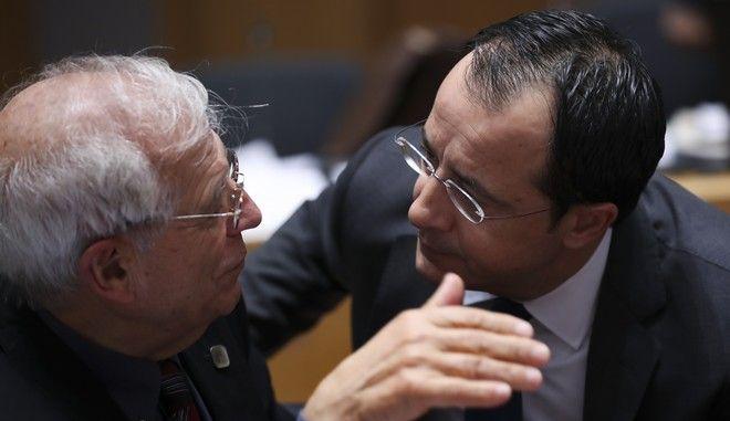 Ο Ύπατος Εκπρόσωπος της ΕΕ Ζοζέπ Μπορέλ και ο υπουργός Εξωτερικών της Κύπρου Νίκος Χριστοδουλίδης.