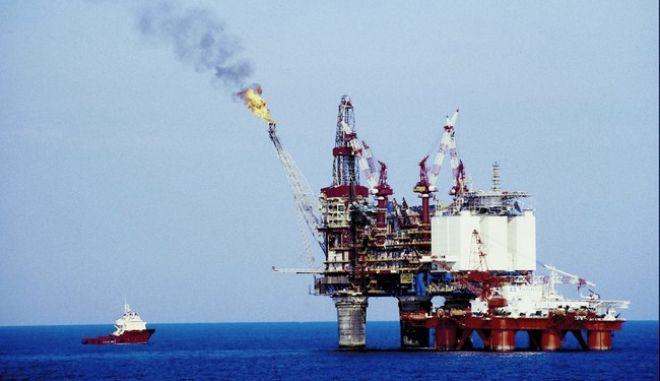 Oil rig in water in Europe
