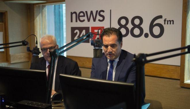 Ο Άδωνις Γεωργιάδης στο στούντιο του News 24/7 στους 88,6