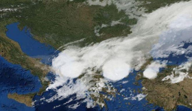 Απεικόνιση του δορυφόρου πάνω από την Χαλκιδική