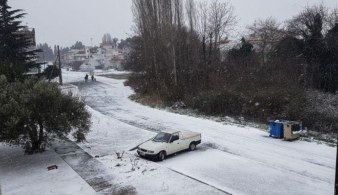 """Χιονόπτωση στην Κομότηνη κατά την επέλαση της κακοκαιρίας """"Μήδεια"""""""