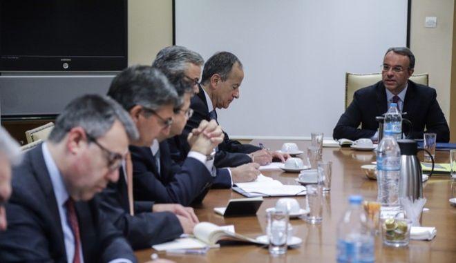 Σύσκεψη του υπουργού Οικονομικών Χρήστου Σταϊκούρα με εκπροσώπους των τραπεζών για τις επιπτώσεις του κορονοϊού την Πέμπτη 12 Μαρτίου 2020.