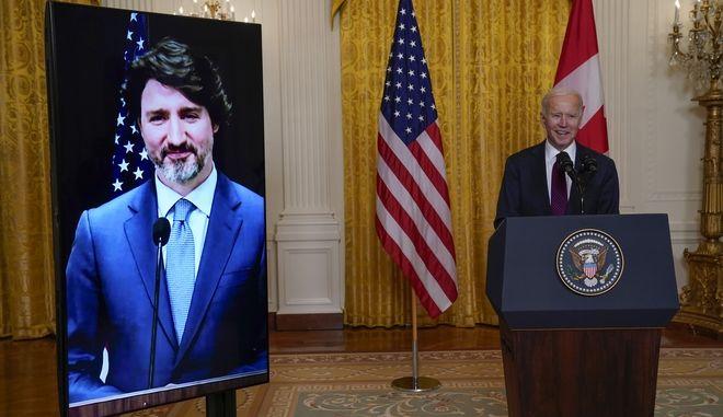 Συνέντευξη Τύπου του προέδρου των ΗΠΑ Τζο Μπάιντεν και του πρόεδρου του Καναδά Τζάστιν Τριντό