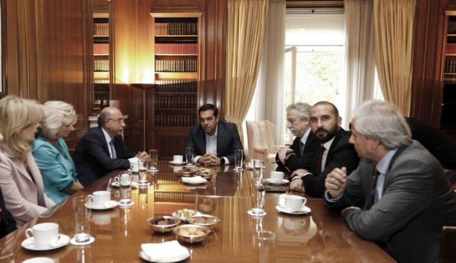 Συνάντηση του Πρωθυπουργού Αλέξη Τσίπρα με τον Βασίλη Πέππα, νέο Πρόεδρο και τους νέους Αντιπροέδρους του Αρείου Πάγου, την Τετάρτη 27 Σεπτεμβρίου 2017, στο Μέγαρο Μαξίμου.  (EUROKINISSI/ΓΙΩΡΓΟΣ ΚΟΝΤΑΡΙΝΗΣ)