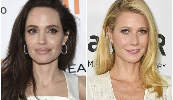 """This combination photo shows actresses Angelina Jolie at a premiere for """"The Breadwinner"""" at the Toronto International Film Festival on Sept. 10, 2017, left, and Gwyneth Paltrow arrives at the amfAR Inspiration Gala in Los Angeles on Oct. 29, 2015. An avalanche of allegations poured out Tuesday, Oct. 10, 2017, against Harvey Weinstein in on-the-record reports that detailed claims of sexual abuse and included testimonies from Jolie and Paltrow, further intensifying the already explosive collapse of the disgraced movie mogul. (AP Photo/File)"""