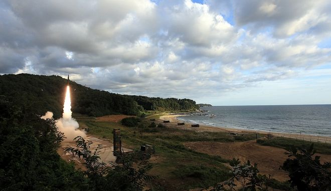 In this photo provided by South Korea Defense Ministry, South Korea's Hyunmoo II ballistic missile is fired during an exercise at an undisclosed location in South Korea, Friday, Sept. 15, 2017. North Korea on Friday fired an intermediate range missile over Japan into the Northern Pacific ocean, U.S. and South Korean militaries said, its longest-ever such flight and a clear message of defiance to its rivals. (South Korea Defense Ministry via AP)