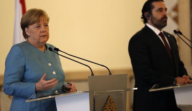 H γερμανίδα καγκελάριος Άγκελα Μέρκελ με τον πρωθυπουργό του Λιβάνου, Σαάντ Χαρίρι
