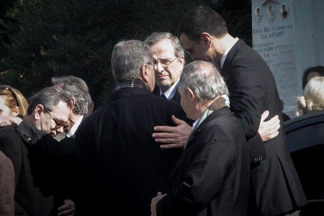 Ο Αντώνης Σαμαράς στην κηδεία του Θέμου Αναστασιάδη