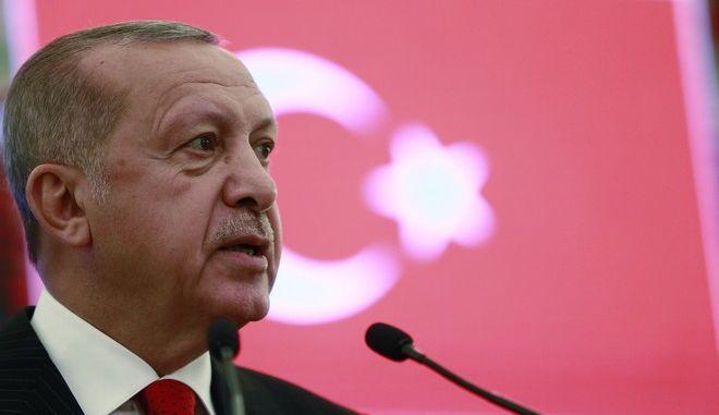 Ο πρόεδρος της Τουρκίας Ρετζέπ Ταγίπ Ερντογάν σε συνέντευξη Τύπου στην Άγκυρα