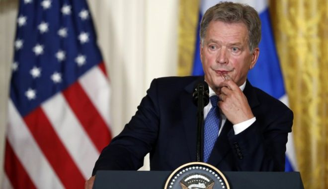 Finnish President Sauli Niinisto listens to a question during a news conference with President Donald Trump, Monday, Aug. 28, 2017, in the East Room of the White House in Washington. (AP Photo/Alex Brandon)