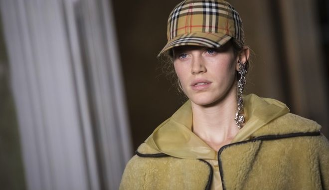 A model wears a creation by designer Burberry during their Spring/Summer 2018 runway show at London Fashion Week in London, Saturday, Sept. 16, 2017. (Photo by Vianney Le Caer/Invision/AP)