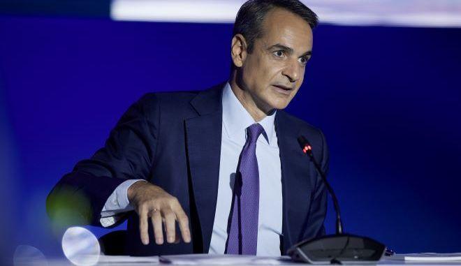 Ο πρωθυπουργός, Κυριάκος Μητσοτάκης, κατά την ομιλία του στη ΔΕΘ