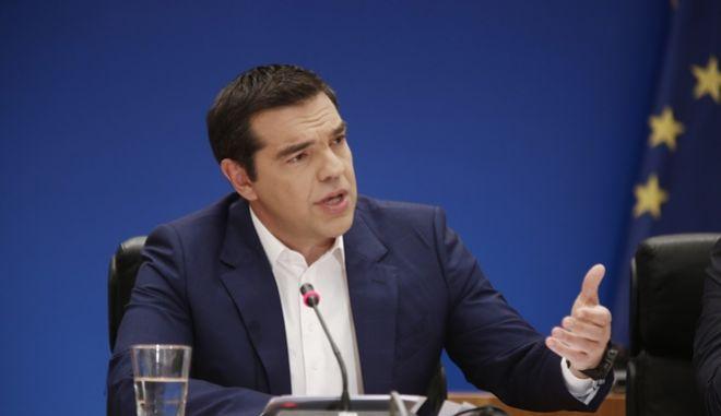 Στιγμιότυπο από τη συνέντευξη Τύπου του πρωθυπουργού, Αλέξη Τσίπρα, στο Ζάππειο