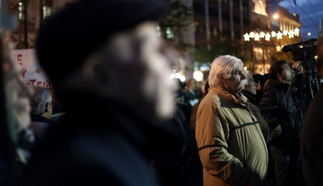 Pensioners gathered to protest against the austerity measures and pension cuts in recent years in Athens, Greeece on December 15, 2016. /                , , , 15  2016.