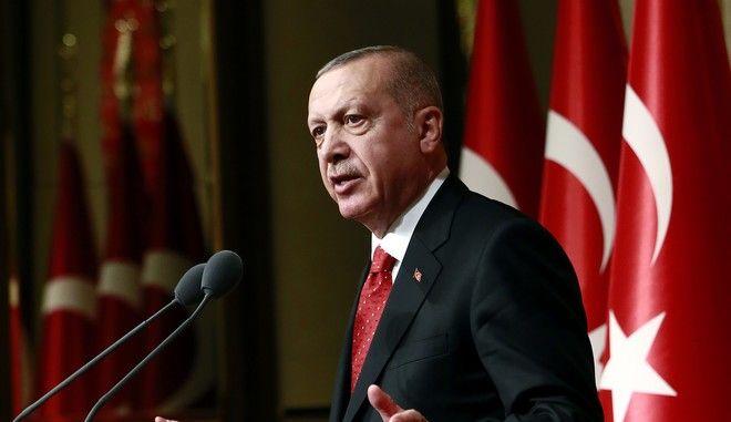 Ο Τούρκος πρόεδρος Ρετζέπ Ταγίπ Ερντογάν στην Άγκυρα