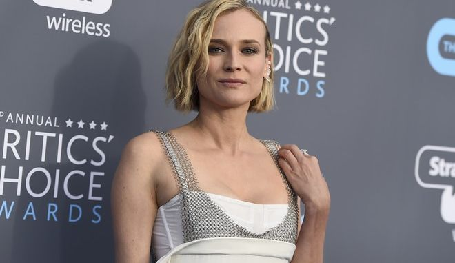 Diane Kruger arrives at the 23rd annual Critics' Choice Awards at the Barker Hangar on Thursday, Jan. 11, 2018, in Santa Monica, Calif. (Photo by Jordan Strauss/Invision/AP)