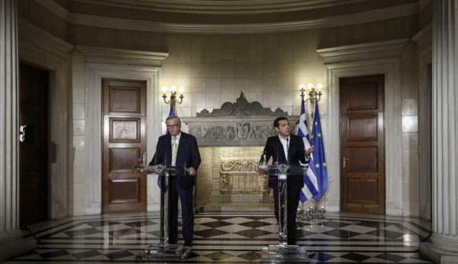 Συνάντηση του Πρωθυπουργού Αλέξη Τσίπρα με τον πρόεδρο της Ευρωπαϊκής Επιτροπής, Ζαν-Κλοντ Γιούνκερ την Πέμπτη 26 Απριλίου 2018, στο Μέγαρο Μαξίμου.