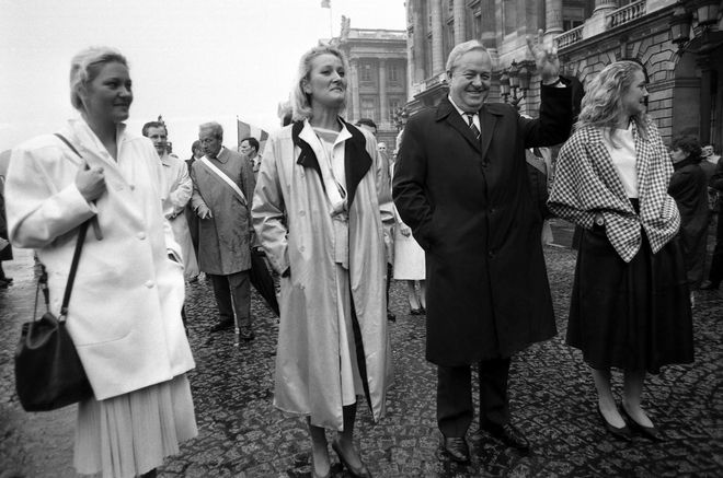 Leader of the French National Front Jean Marie Le Pen leads a march to the statue of Joan of Arc with his three daughters Marie Caroline, Yann and Marine Le Pen on May 12, 1985. (AP Photo/Herve Merliac)