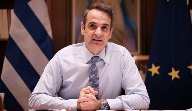 Ο πρωθυπουργός Κυριάκος Μητσοτάκης σε τηλεδιάσκεψη με τον πρόεδρο του Ευρωπαϊκού Συμβουλίου, Charles Michel, Τρίτη 1 Δεκεμβρίου 2020.