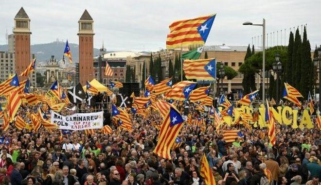 Ισπανία: 80.000 διαδηλωτές υπέρ της ανεξαρτητοποίησης της Καταλονίας