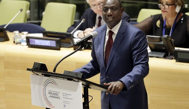 Kenya's Vice President William Ruto addresses the United Nations Summit for Refugees and Migrants, in the Trusteeship Council Chamber of the United Nations, Monday, Sept. 19, 2016. (AP Photo/Richard Drew)
