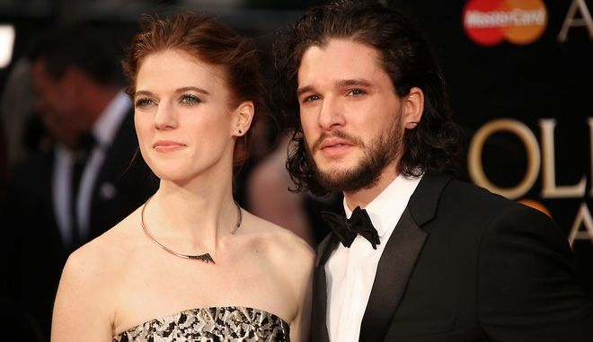 Actors Rose Leslie, left, and Kit Harrington pose for photographers upon arrival at the Olivier Awards in London, Sunday, April 3, 2016. (Photo by Joel Ryan/Invision/AP)