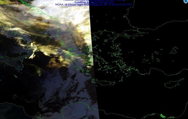 Λήψη εικόνας από το δορυφορικό σταθμό Αθηνών γιθα την 24η Δεκεμβρίου 2018 και ώρα Ελλάδος 17:29. από τον μετεωρολογικό δορυφόρο πολικής τροχιάς ΝΟΑΑ -19. Το πλούμιο διακρίνεται με κιτρινωπά χρώματα με την έκταση του να ξεπερνά πλεον τα 300Km.