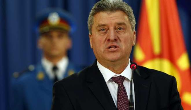 Macedonia's President Gjorge Ivanov speaks during an media conference after talks with his Serbian counterpart Tomislav Nikolic, in Belgrade, Serbia, Friday, Oct. 28, 2016. Ivanov arrived on a three-day visit to Serbia. (AP Photo/Darko Vojinovic)