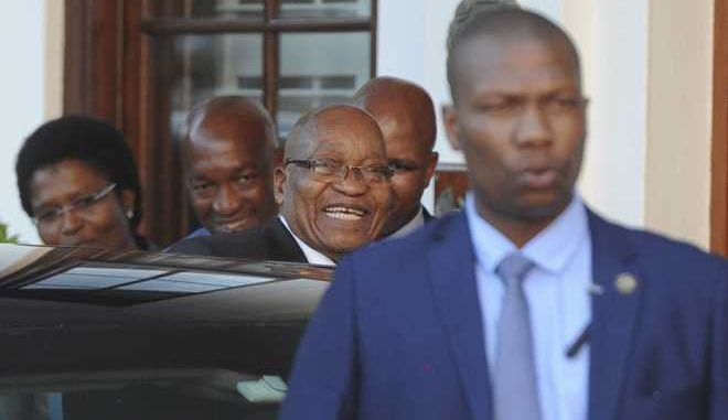 "South African President Jacob Zuma leaves parliament in Cape Town, South Africa, Wednesday, Feb 7, 2018. Zuma's exit from power because of scandals appears to be getting closer with his deputy, Cyril Ramaphosa, who is expected to replace him, saying he anticipates a ""speedy resolution"" to transition talks he is holding with Zuma. (AP Photo/Brenton Geach)"