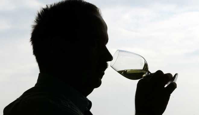 """Ein Fachmann riecht am 13. Maerz 2002 bei einer Weinpraemierung in Heilbronn an einem Glas mit Weisswein. Nach einer Einschaetzung der Drogenbeauftragten Sabine Baetzing hat Deutschland ein Alkoholproblem.  """"Wir haben hier die Situation, dass einfach zu viele Menschen zu viel und zu regelmaessig Alkohol trinken"""", sagte Baetzing am Montag, 11. Juni 2007, im WDR.   (AP Photo/Thomas Kienzle)"""