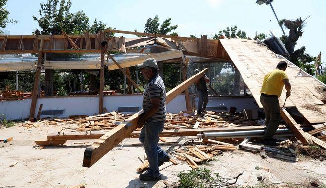 Αποκατάσταση ζημιών στη Χαλκιδική