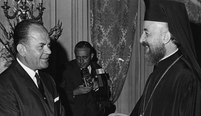 Greek Premier George (Georgios) Papadopoulos, left, talks with the president of Cyprus, Archbishop Makarios prior to a state dinner in honor of visiting Makarios,who arrived yesterday for talks with the Greek government, in Athens, Greece, September 3, 1968.  (AP Photo/Saris)