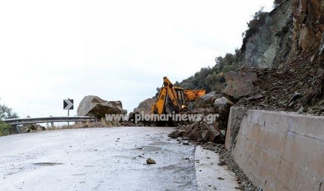 Μυτιλήνη: Νέες κατολισθήσεις στην περιοχή του Πλωμαρίου από τις χθεσινές βροχοπτώσεις