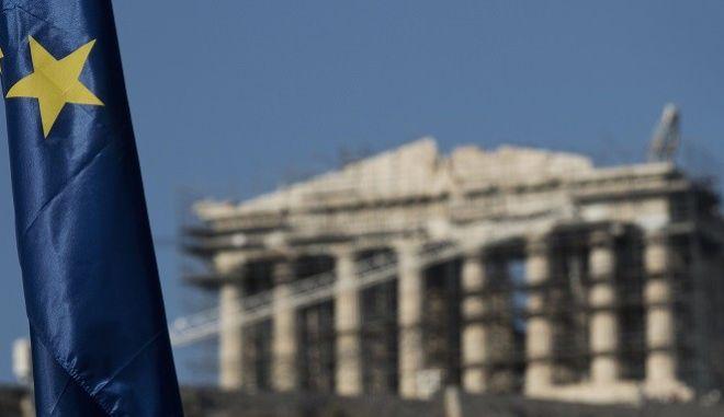 Η σημαία της ΕΕ με φόντο την Ακρόπολη