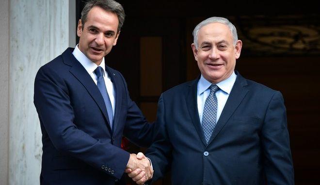 Στιγμιότυπο από την συνάντηση του πρωθυπουργού Κυριάκου Μητσοτάκη με τον Ισραηλινό ομόλογο του Μπέντζαμιν Νετανιάχου, Πέμπτη 2 Ιανουαρίου 2020