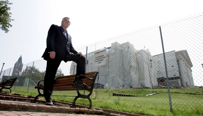 George Fitch, a candidate for the Virginia Republican  gubernatorial nomination, stands in front of the Capitol which is undergoing renovation in Richmond, Va., Monday, June 6, 2005. Fitch is being given about as much of a chance of getting elected governor of Virginia as a Jamaican bobsled team has of winning the gold at the Winter Olympics. Fitch bankrolled a group of Jamaicans and brought them to the 1988 Winter Games in Calgary, Alberta, to challenge the world's elite bobsled teams. (AP Photo/SteveHelber)