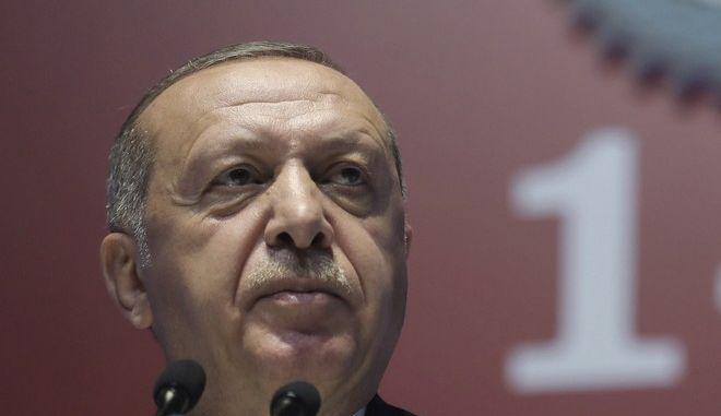 Ο Τούρκος πρόεδρος Ρετζέπ Ταγίπ Ερντογάν σε συνέδριο στην Άγκυρα