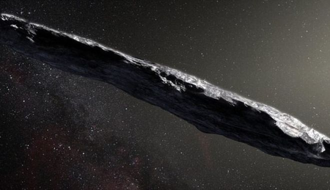 This artists impression shows the first interstellar asteroid: `Oumuamua. This unique object was discovered on 19 October 2017 by the Pan-STARRS 1 telescope in Hawai`i. Subsequent observations from ESOs Very Large Telescope in Chile and other observatories around the world show that it was travelling through space for millions of years before its chance encounter with our star system. `Oumuamua seems to be a dark red highly-elongated metallic or rocky object, about 400 metres long, and is unlike anything normally found in the Solar System.