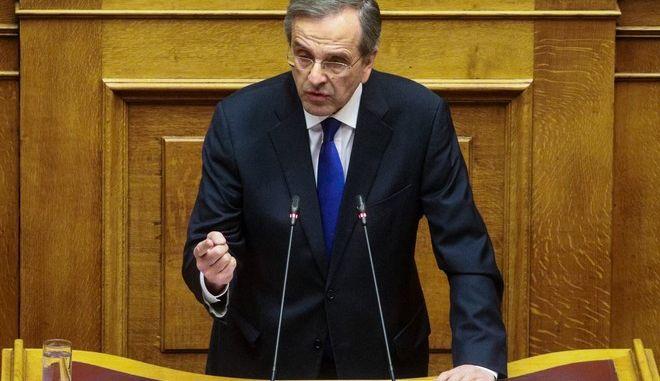 Ο πρώην πρωθυπουργός, Αντώνης Σαμαράς, από το βήμα της Βουλής, κατά τη συζήτηση της Συμφωνίας των Πρεσπών
