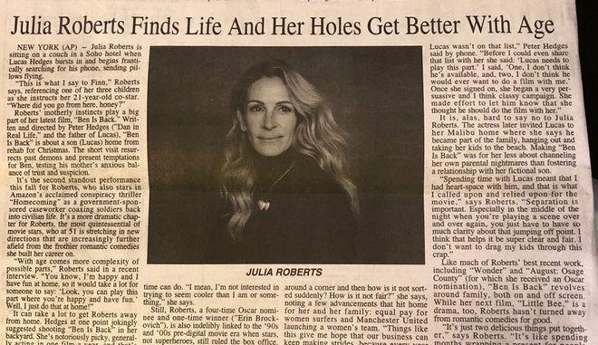 Τζούλια Ρόμπερτς: Άλλο ρόλος κι άλλο... Εφημερίδα τα έκανε σαλάτα κι έγινε viral