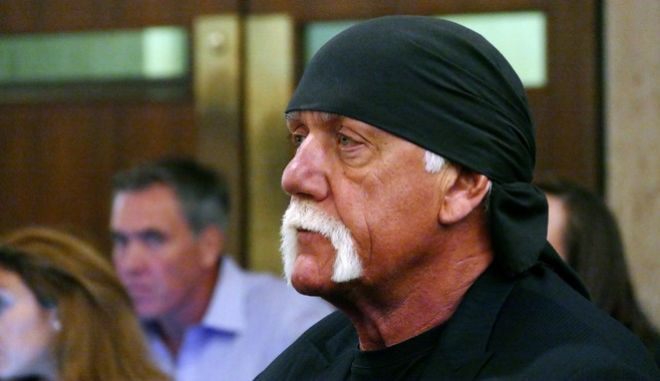 FILE - In this May 25, 2016 file photo, Hulk Hogan, whose real name is Terry Bollea, appears in court in St. Petersburg, Fla. The shell of Gawker has settled with Hulk Hogan for $31 million, ending a years-long fight that led to the media companys bankruptcy, the shutdown of Gawker.com and the sale of Gawkers other sites to Spanish-language broadcaster Univision.  Gawker founder Nick Denton in a Wednesday, Nov. 2 blog post said that the saga is over. Denton filed for personal bankruptcy because of the $140 million verdict won by the former professional wrestler in a Florida court over a sex tape.(Scott Keeler/The Tampa Bay Times via AP, Pool)