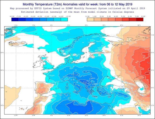 Καιρός Μαΐου: Με πολλές βροχές και θερμοκρασίες κάτω από τα κανονικά επίπεδα