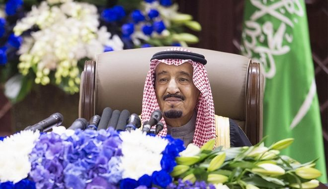 In this image released by Saudi Press Agency, SPA, Saudi Arabia's Crown Prince Salman bin Abdulaziz Al Saud delivers a speech to consultative Shura Council in Riyadh, Saudi Arabia, Tuesday, Jan. 6, 2015. Crown Prince Salman delivered an annual televised speech on Tuesday that has traditionally been given by the 90-year-old King Abdullah, who is in the hospital after being diagnosed with pneumonia over the weekend.(AP Photo/Saudi Press Agency)