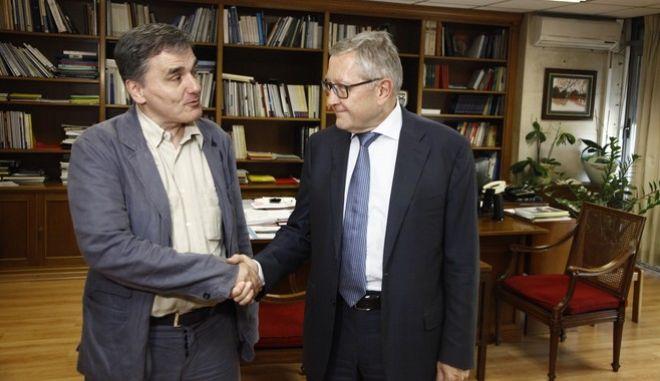 ΑΘΗΝΑ-Συνάντηση  του υπουργού οικονομικών Ευκλείδη Τσακαλώτου με τον επικεφαλή του ESM Κλ. Ρέγκλινγκ.(Eurokinissi-ΚΟΝΤΑΡΙΝΗΣ ΓΙΩΡΓΟΣ)